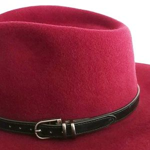 Olive and Pique Accessories - Olive & Pique Wool Raspberry Color Boho Panama Hat